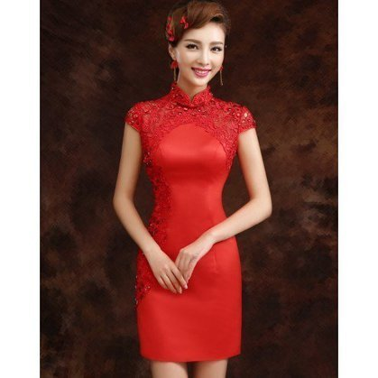 Red Brocade Lace Neck & Sleeve Bodycon Traditional Chinese Dress Wedding Gown | Fashion Chinese Dresses | Scoop.it