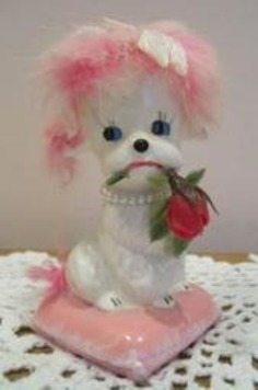 ENESCO Japan Imports Vintage White Dog Figurine with Pink Rabbit Hair | Kitsch | Scoop.it