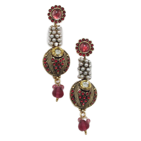 Smoke GoldenRed Pair of Earrings with unique design. SMER535   Online Shopping in India   Scoop.it