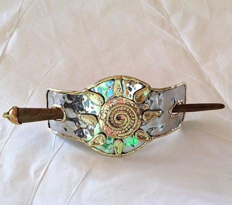 Oshun Spirit Energy Art Jewelry Fair Trade Metal Sun Barrette | shop small business | Scoop.it
