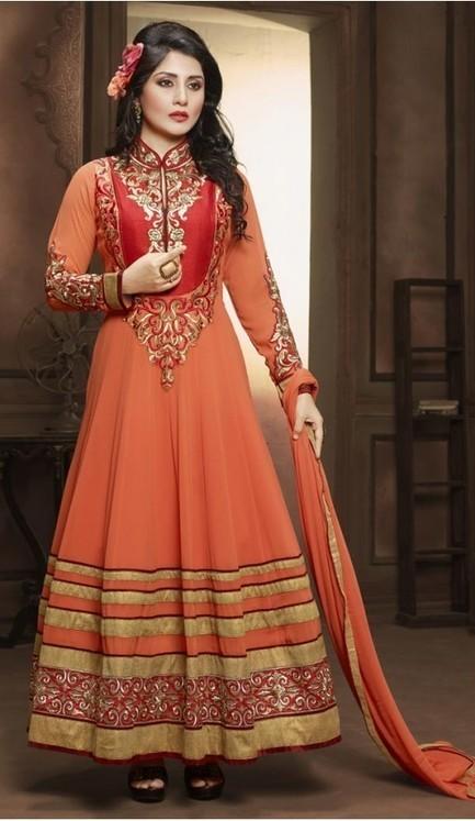 Rimi Sen ! Peach Puff Color Georgette Anarkali Style Stitched Churidar Kameez | fashionheena.com | Scoop.it