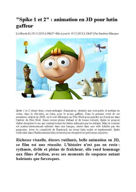 LE MONDE | CGI animation for the clumsy elf SPIKE | SPIKE | Scoop.it
