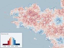 Carte interactive. Les revenus moyens par habitant... au pixel près ! | Le BONHEUR comme indice d'épanouissement social et économique. | Scoop.it