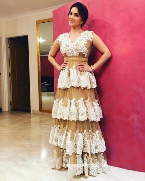 Sunny Leone in Sumaya Abdulrazak Sleeveless Frill Gown | Indian Fashion Updates | Scoop.it