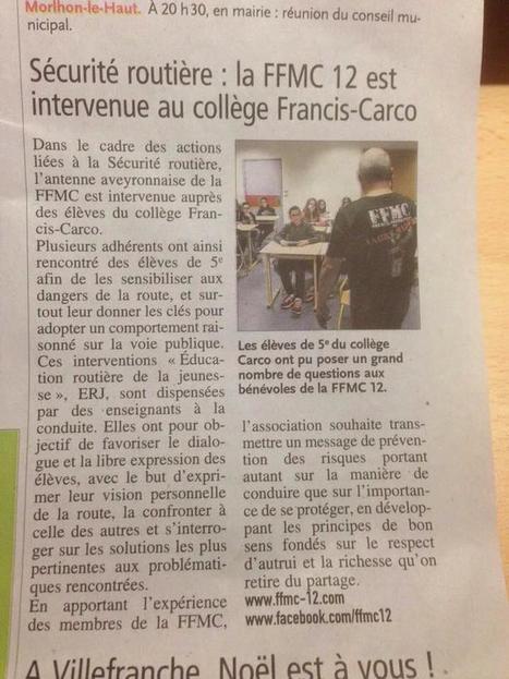 Intervention ERJ de la FFMC12 au collège de Villefranche de Rouergue | Formations auprès des jeunes ERJ et stage moto AFDM | Scoop.it