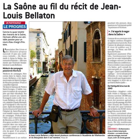 #Arnas Mercredi 15 juin 2016 – 18 h 30 La #Saône au fil du récit de Jean-Louis Bellaton @DesLivresetdesH @Le_Progres | Romans régionaux BD Polars Histoire | Scoop.it