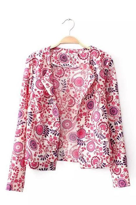 Red Geometrical Pattern Long Sleeve Blazer | chouchou | Scoop.it
