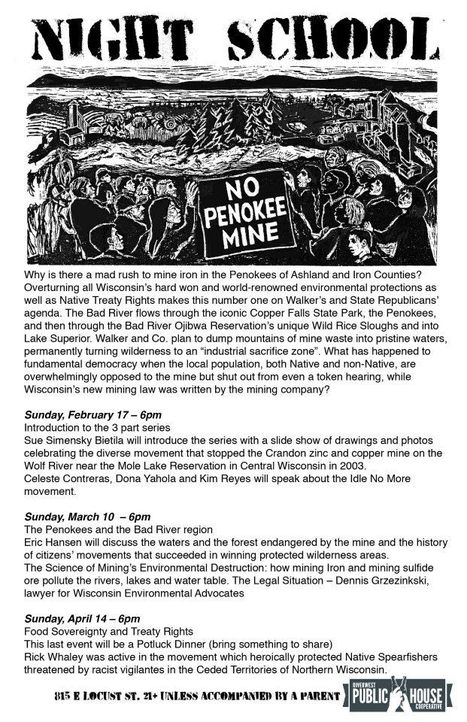 NIGHT SCHOOL: Penokee Mine Resistance Pt. 1 (of 3) | Facebook | IDLE NO MORE WISCONSIN | Scoop.it