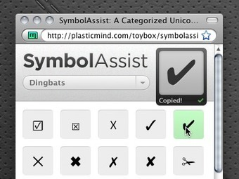 SymbolAssist: A Categorized Unicode Character Map | Web Design & Dev Journal | Scoop.it