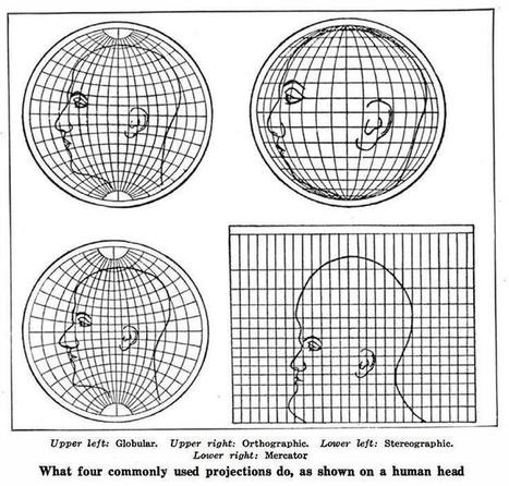 The four most commonly used mapping projections as shown on a human head | Geomatics, GIS and the beauty of maps | Scoop.it