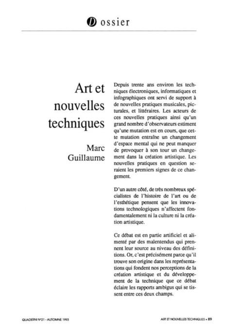 Art et nouvelles techniques - Marc Guillaume (1993) | Arts Numériques - anthologie de textes | Scoop.it