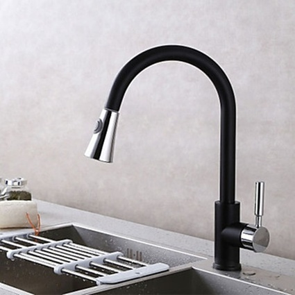 ontemporary Pull-out Single Handle Deck Mounted Pullout Spray Ceramic Valve Chrome Black Kitchen Faucet-- Faucetsmall.com | Bathroom Sink Faucets & Kitchen Faucets | Scoop.it