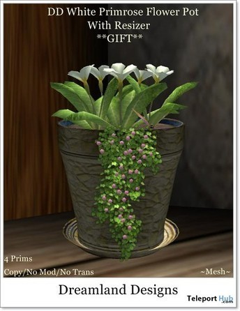 White Primrose Flower Pot by Dreamland Designs | Teleport Hub - Second Life Freebies | Second Life Freebies | Scoop.it
