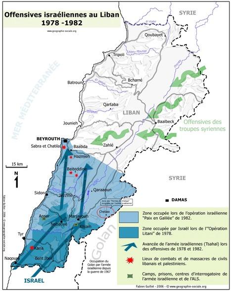 Carte des offensives armées israéliennes au Liban depuis 1978 (site Géographie sociale et politique) | Géographie des conflits | Scoop.it