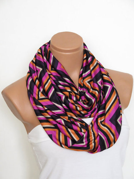 Chevron scarves,multicolored chevron pattern scarves,Scarf,infinity Scarf,Loop Scarf,Jersey  Scarf, Nomad Cowl.eternity Scarf,women fashion | fashion | Scoop.it