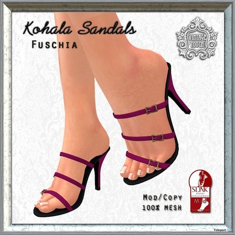 Kohala Strappy Sandals Fuschia Teleport Hub Group Gift by The Vintage Touch | Teleport Hub - Second Life Freebies | Second Life Freebies | Scoop.it