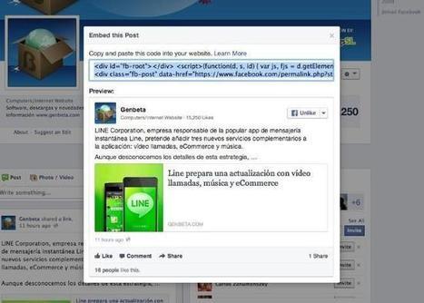 Facebook sigue la estela de Twitter y permite incrustar sus - Genbeta | Social Media para sacar la cabeza del agujero. | Scoop.it