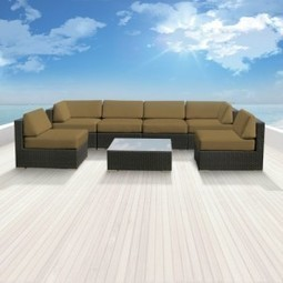 Genuine Luxxella Outdoor Patio Wicker Sofa Sectional Furniture BELLA 7pc Gorgeous Couch Set DARK BEIGE | Furniture Shoppy | Best Patio Furniture Sets | Scoop.it