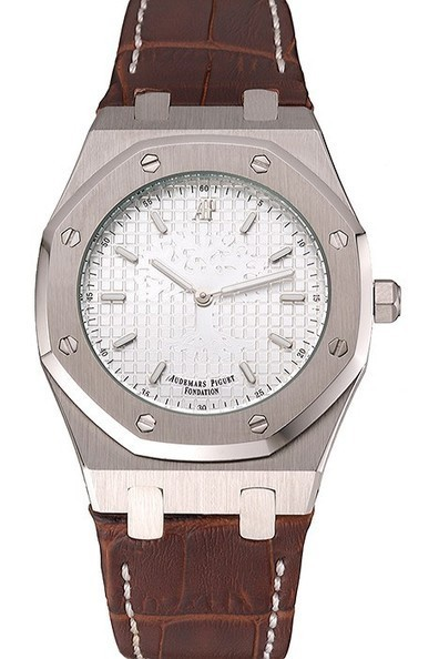 Replica Audemars Piguet Royal Oak Fondation White Dial Stainless Steel Case Brown Leather Strap-$285.00 | Men's & Women's Replica Watches Collection Online | Scoop.it