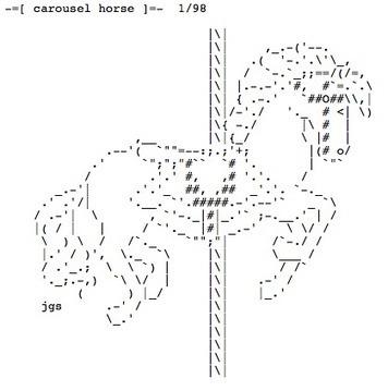 -=[ carousel horse ]=- 1/98 by joan stark   ASCII Art   Scoop.it