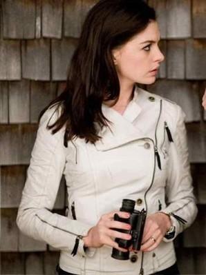 Get Smart 99's White Leather Jacket | Anne Hathaway Jacket | Women's Jackets | Scoop.it