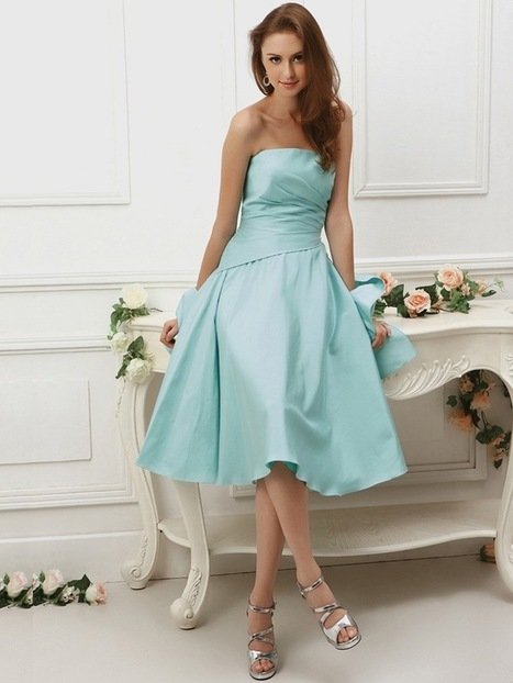 A-line Strapless Taffeta Knee-length Sleeveless Draped Party Dresses at sweetquinceaneradress.com | SWEET 16 DRESSES | Scoop.it