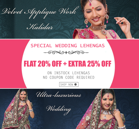 Don't miss it! Feast your eyes on an EXTRA 25% OFF on Lehengas | Deals, Offers & Updates | Scoop.it