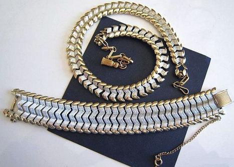 Vintage Necklace Bracelet Set Signed Coro Pegasus Silver Gold Textured Metal Geometric Lines VG | vintage jewelry | Scoop.it