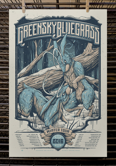 Greensky Bluegrass Tour Poster by Half Hazard Press | Acoustic Guitars and Bluegrass | Scoop.it
