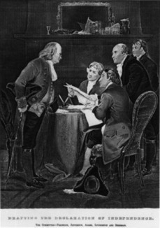 Drafting the Declaration of Independence. The Committee - Franklin, Jefferson, Adams, Livingston and Sherman. Copy of engraving after Alonzo Chappel. | DocsTeach: Documents | RI.11-12.8: Evaluating the reasoning in seminal U.S. texts. | Scoop.it