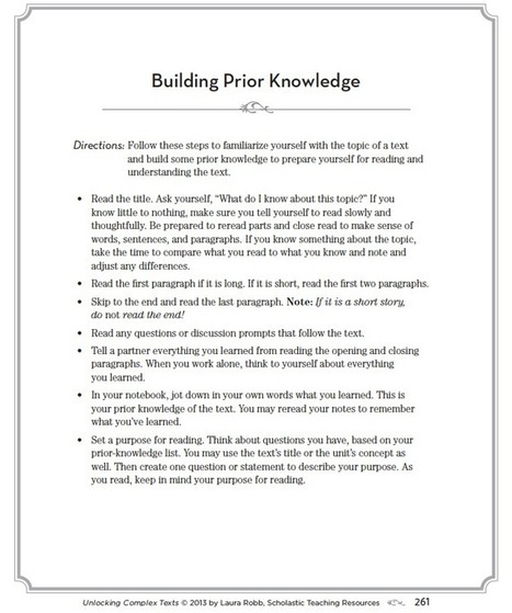 Teach Students to Build Their Own Prior Knowledge | MiddleWeb | The reading skill | Scoop.it