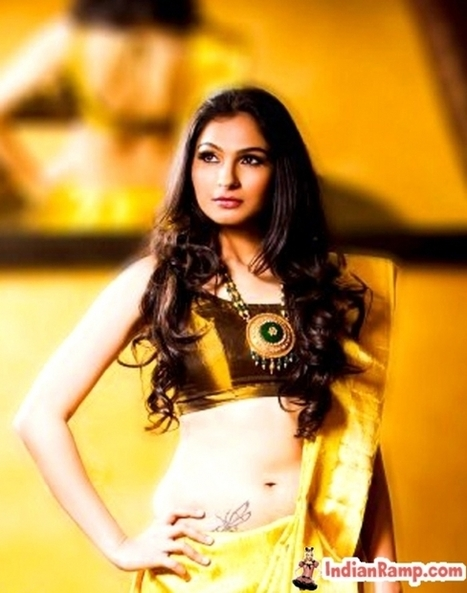 Tamil Actress Andrea in Traditional Gold Saree Blouse Dress @IndianRamp.com | Indian Ramp - Indian Fashion, Saree, Salwar Kameez, Mehendi Designs | Indian Fashion Updates | Scoop.it