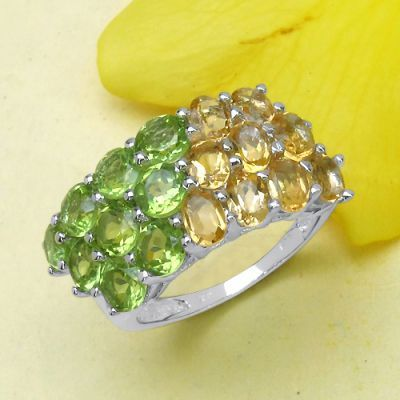 4.05CTW Citrine & Peridot .925 Sterling Silver Ring   Online Jewellery Shopping in India   Scoop.it