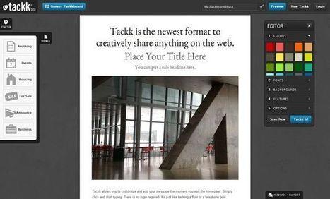 Tackk: una herramienta web para crear boletines, panfletos, carteles, presentaciones de productos, etc   Tic, Tac... y un poquito más   Scoop.it
