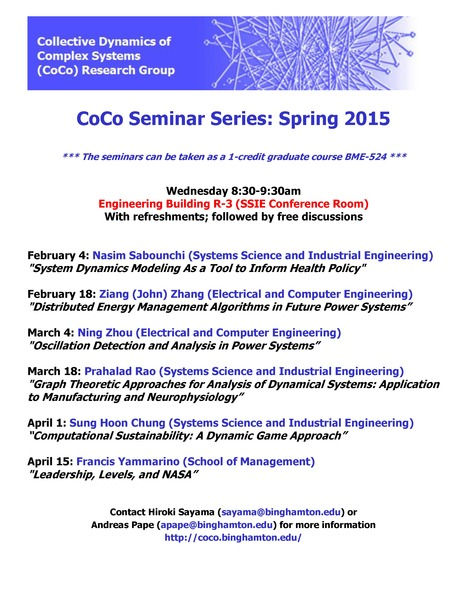 Spring 2015 CoCo Seminar Schedule (note the location change: now in EB-R3) | Center for Collective Dynamics of Complex Systems (CoCo) | Scoop.it