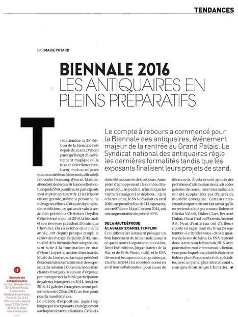 Biennale 2016 - Les antiquaires en pleins préparatifs / l'Oeil juin 2016 | La revue de presse & web du SNA | Scoop.it