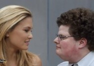 model Bar Rafaeli about to kiss a geek in Go Daddy Ad