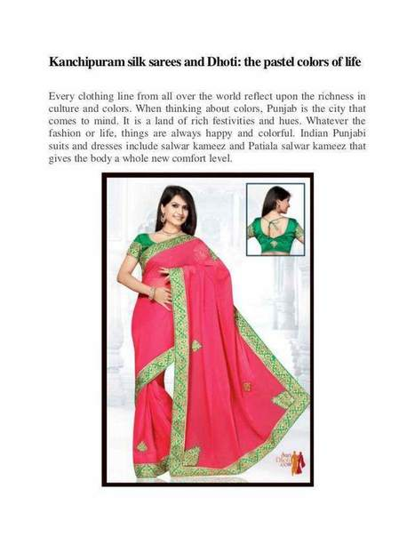 Kanchipuram silk sarees and Dhoti: the pastel colors of life | Sari Dhoti and Designer Shawl for Women | Scoop.it