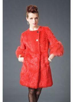 Women's Furs :: Fur Coats :: Rabbit :: Genuine Full Skin Half Layered Rex Rabbit Stroller Coat with Fox Fur Cuffs - | furs | Scoop.it