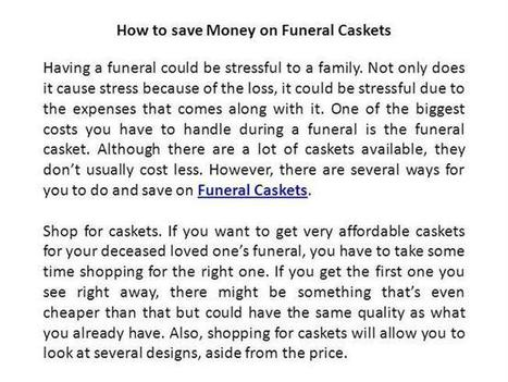 How to Save Money on Funeral Caskets Ppt Presentation | Funerals for Loved One | Scoop.it
