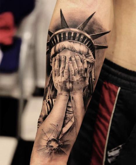 Who Shot the Statue of Liberty? #art #tattoos #illustration #realism #landmarks | tattoos | Scoop.it