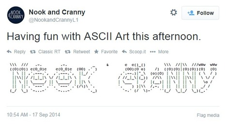 "Nook and Cranny on Twitter: ""Having fun with ASCII Art this afternoon. http://t.co/uHFDyDm8sp"" 