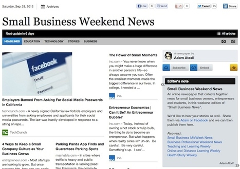 Sept 29 - Small Business Weekend News is out | Business Futures | Scoop.it