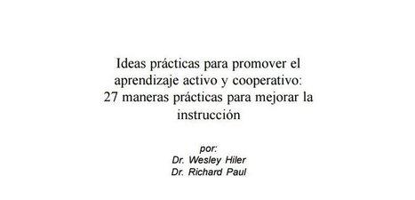 27 Ideas prácticas para promover el aprendizaje activo y cooperativo en pdf | FILOSOFIESTA | Scoop.it
