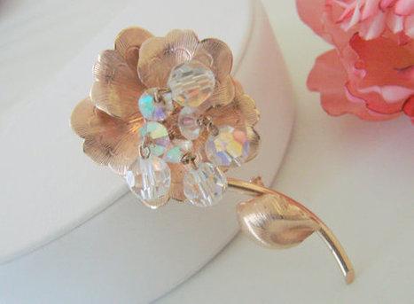 50s Retro Vintage Aurora Borealis Crystal Bead Floral Brooch | Jewelry | Scoop.it