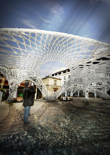 """Bone-Like Plastic Structures Form Biodegradeable Temporary Pavilions With """"Osteobotics"""" 