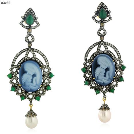 Emerald Pearl Cameo Gold Earrings | Gemstone Jewelry | GemcoDesigns | Pave Diamond Palm Bracelets | Diamond Jewelry | GemcoDesigns | Scoop.it