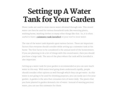 Setting up A Water Tank for Your Garden | Complete Tanks and Pumps | Scoop.it
