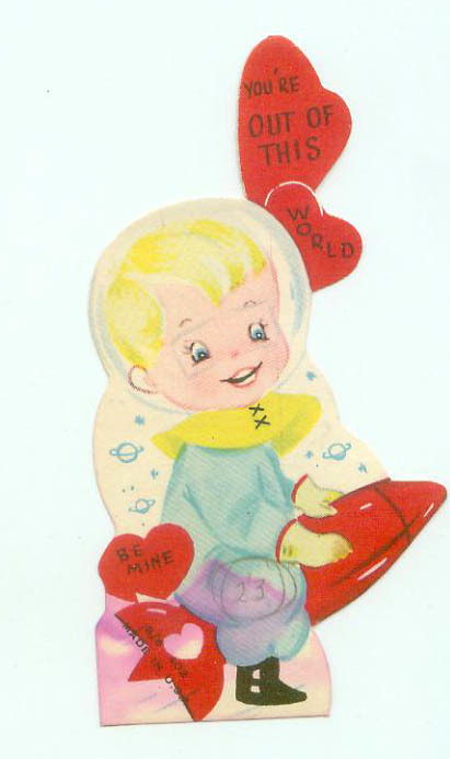 Vintage Space Age Rocket Spaceship Childrens Die Cut Valentine 1950s | Kitsch | Scoop.it
