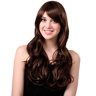 Capless Long Synthetic Flufft Brown Curly Hair Wig Side Bang – WigSuperDeal.com | African American Wigs | Scoop.it